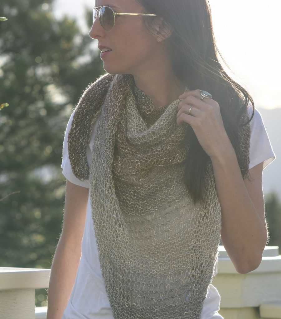 Number 1 from favorite free crochet and knit shawls, the Easy Triangle Wrap by Mama in a Stitch