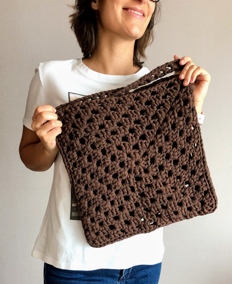 The Granny Square Tape Yarn Bag in colour Brown