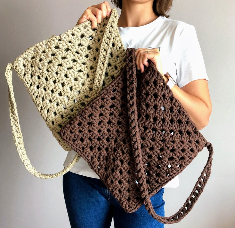 Cover image for the Granny Square Tape Yarn Bag