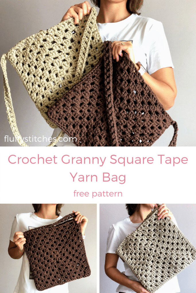 The image made for Pinterest of the Crochet Granny Square Tape Yarn Bag