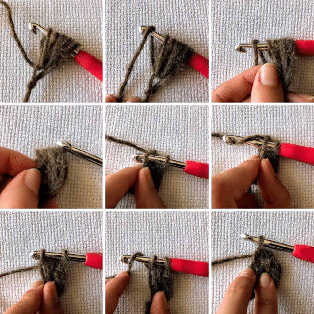 Step 2 on how to make puff stitch