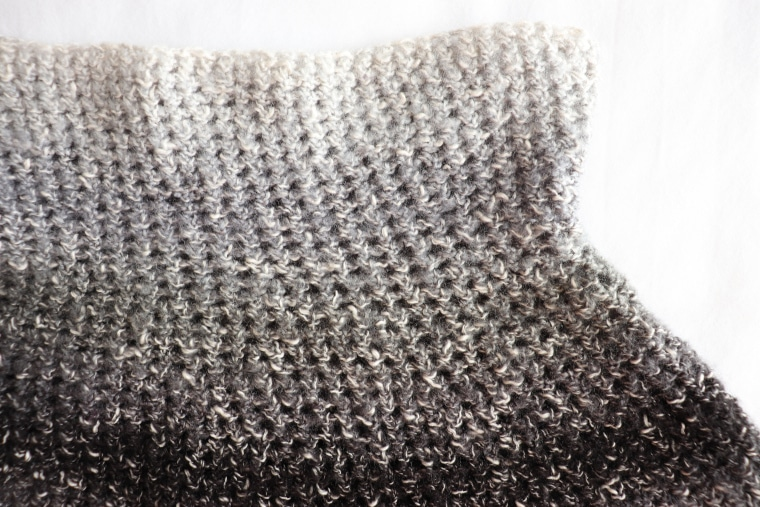 Detail of single crochet stitches from the crochet silver lining capelet