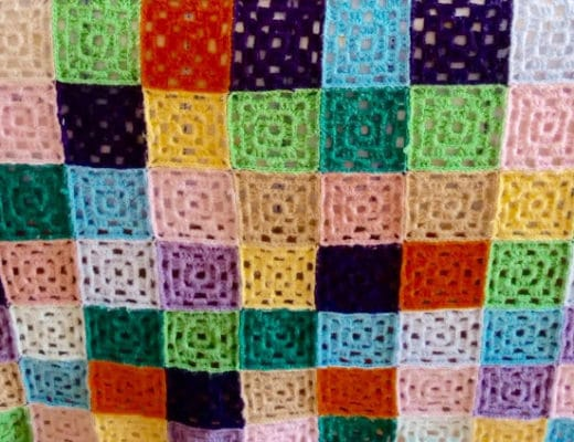 Detail from the Granny Square quilt made by Susana from Fluffy Stitches