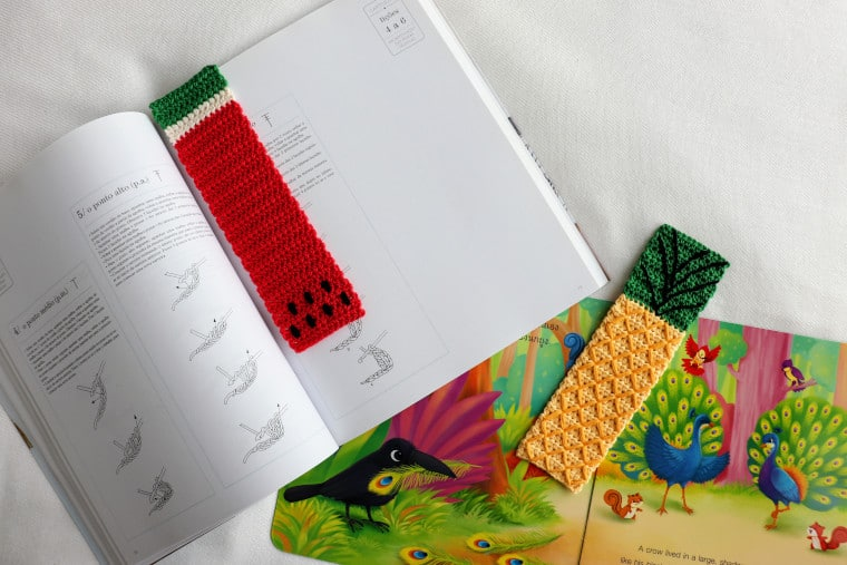 The Crochet Tropical Bookmark Set being used to mark books