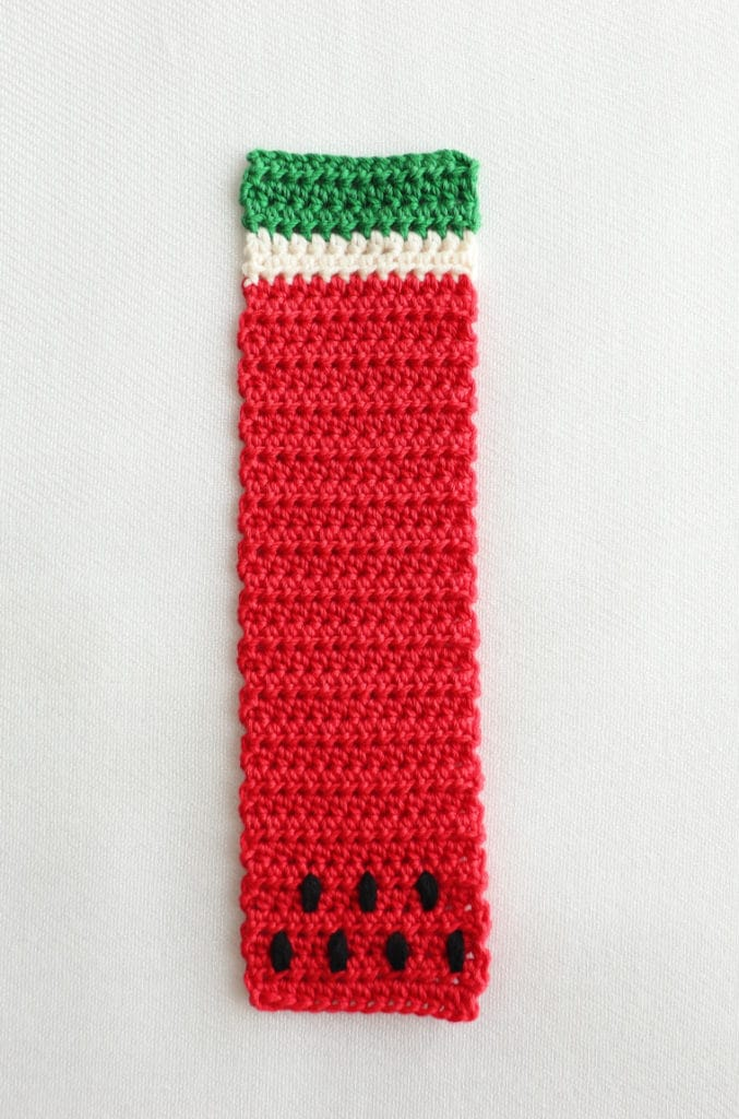 The Watermelon Bookmark from the Crochet Tropical Bookmark Set