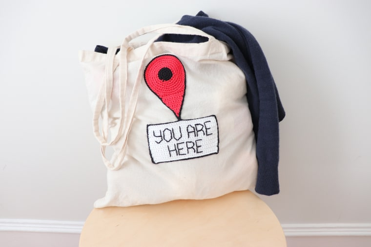 The You Are Here Sign on a bag, ready to go out